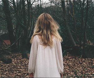 girl, blonde, and forest image