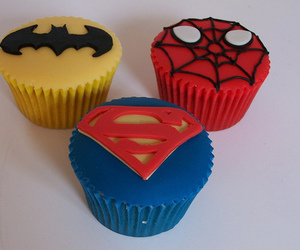 cupcake, batman, and superman image