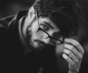 black and white and guy image