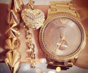 gold, heart, and watch image