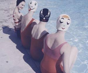 vintage, pool, and woman image