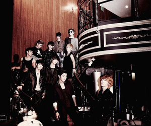 super junior and black and white image