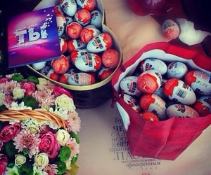 kinder, chocolate, and flowers image
