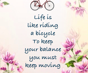 balance, bicycle, and floral image