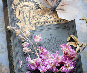 book, flowers, and butterfly image