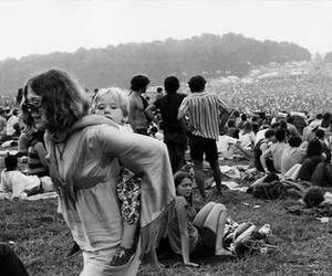 black and white, hippie, and woodstock image