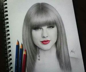 drawing, Taylor Swift, and red image