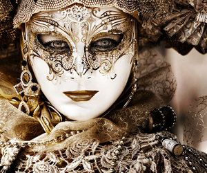 mask, gold, and carnival image