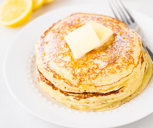breakfast, lemon, and pancakes image
