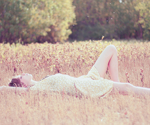 girl, field, and dress image