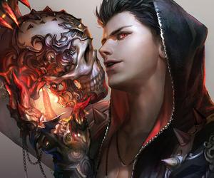 art, skull, and boy image