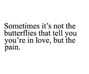 love, pain, and butterfly image