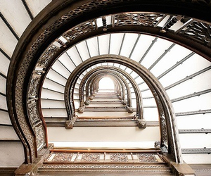 architecture, spiral, and stairs image