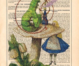 alice in wonderland, book, and drawing image