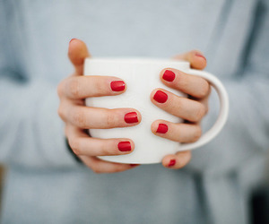 coffee, nails, and red image