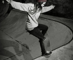 black and white, hobby, and skateboard image