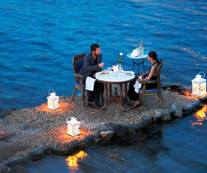 love, sea, and candles image