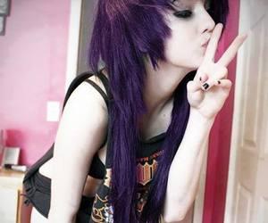 emo, hair, and purple hair image
