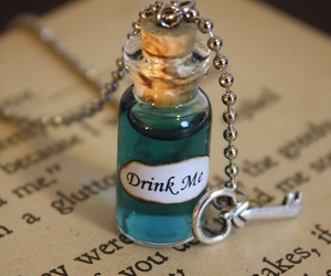 drink me, book, and drink image