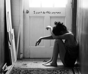 girl, sad, and black and white image