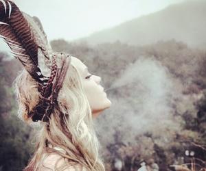 girl, smoke, and indian image