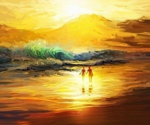 beach, Oil Painting, and painting image