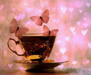 butterfly, cup, and hearts image