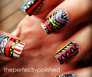 aztec, freehand, and nail art image