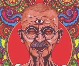 gandhi, meditation, and art image