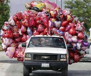love, car, and balloons image