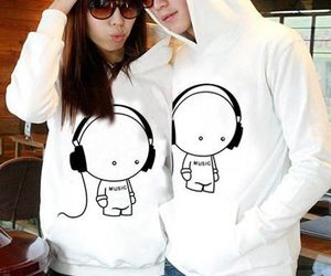 couple, earphone, and lovely image