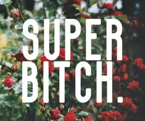 bitch, super, and flowers image