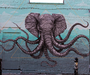 elephant, art, and octopus image