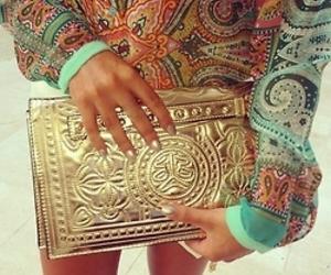 fashion, gold, and bag image