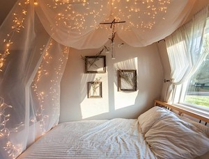 bed, bedroom, and fairy lights image