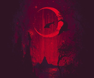red, moon, and art image