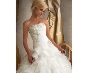 ball gown, beaded, and bridal image