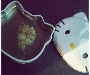hello kitty, weed, and love image
