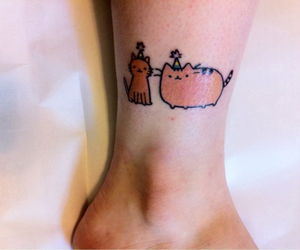 tattoo, pusheen, and party cat image