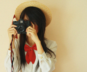 girl, camera, and hat image