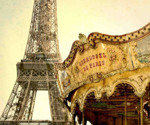 paris, eiffel tower, and carousel image