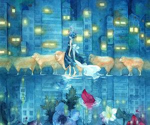 flowers, anime, and sheep image