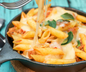 cheese, pasta, and sausage image