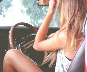 car, driving, and girl image