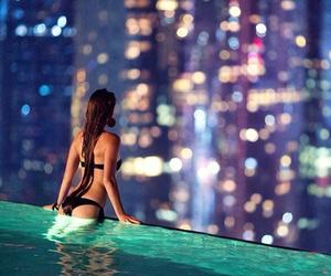 girl, pool, and city image