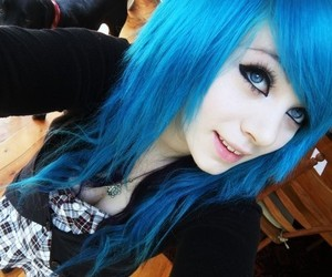blue hair, smile, and girl image