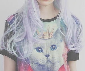hair, cat, and pastel image