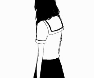 monochrome, anime girl, and black and white image