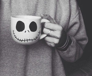 black and white, jack skeleton, and good morning image