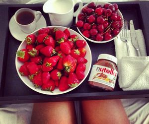 cherries, red, and coffe image